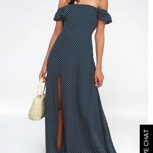 23e5fcd2462a4d Lulu s Dresses - DREAM LOVE NAVY BLUE OFF-THE-SHOULDER MAXI DRESS
